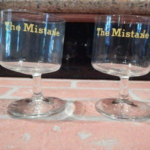 THE MISTAKE Drunk Titled Bar Cocktail Glasses TWO
